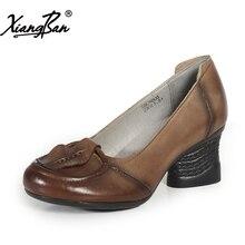 Xiangban Genuine leather shoes women handmade original retro cowhide leather high heel pumps comfortable