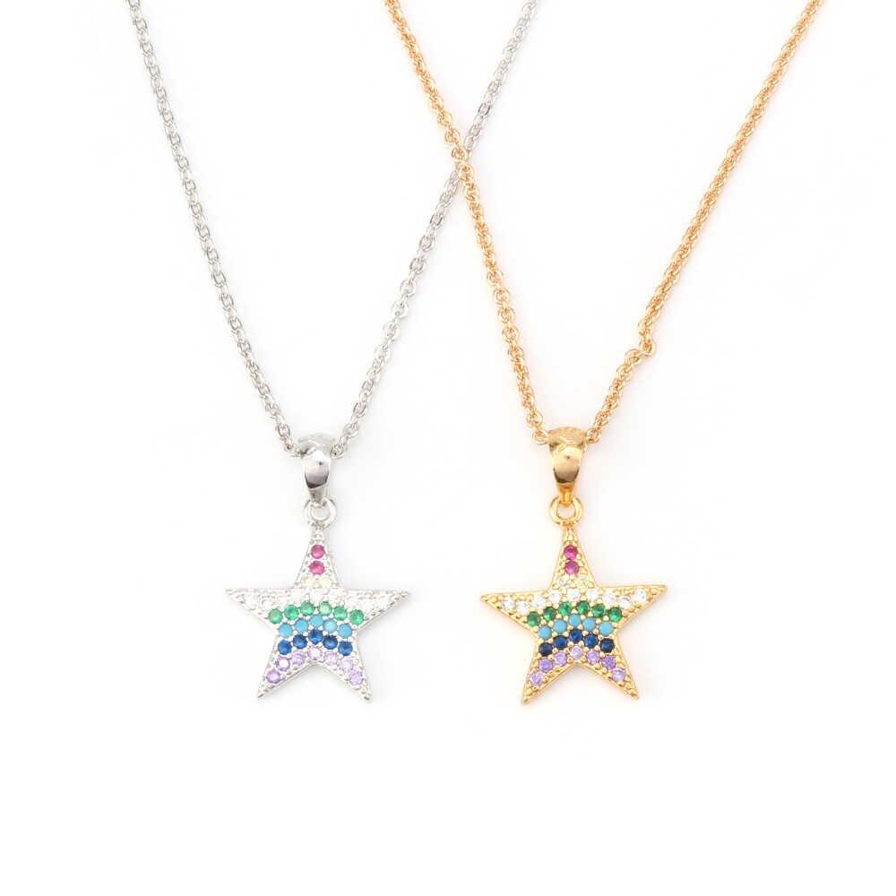 MEIBEADS Micro Pave Cz Cristal Encantos Estrela Ligações Correntes Colares Pingentes Para As Mulheres Do Partido Casamentos Jóias Verão