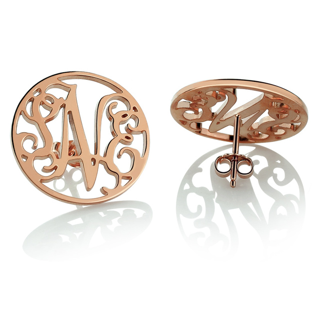 Rose Gold Color Monogram Earrings Personalize Circle Stud Initial Jewelry Gift For Friends
