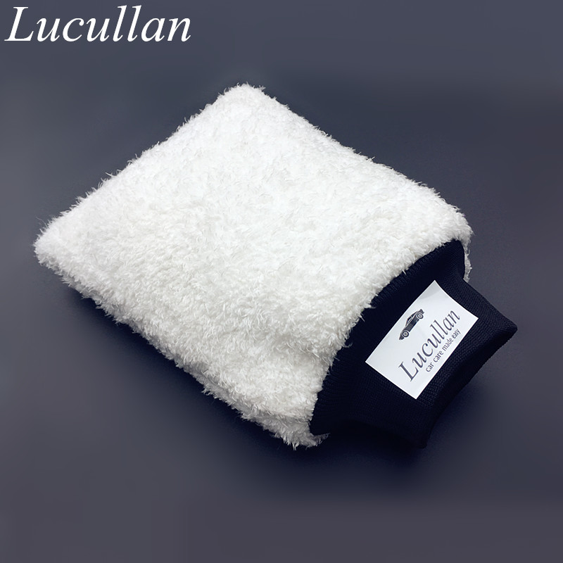 Lucullan Latest Ultra Soft  Car Wash Mitt Easy To Dry Microfiber Premium Auto Detailing Mitt Best For Two Buckets Wash