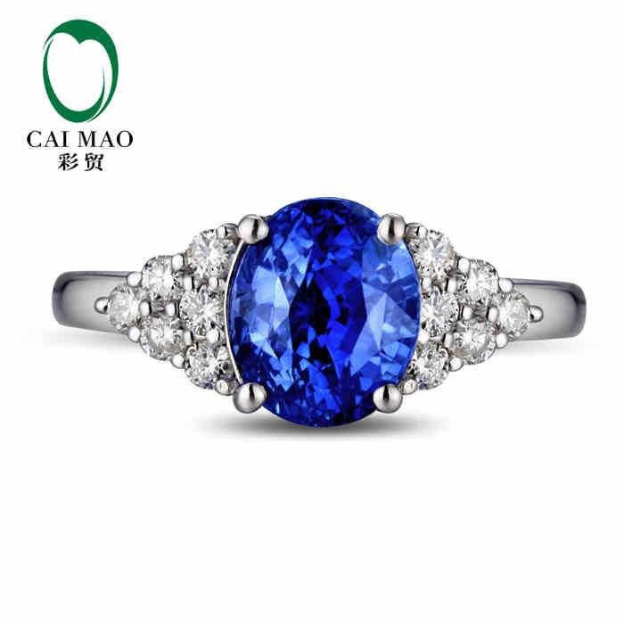 CaiMao 18KT/750 Белое золото 2,12 ct натуральный если Синий танзанит AAA 0,38 ct полный огранки обручение Драгоценное кольцо ювелирные изделия