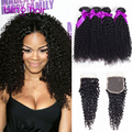 Brazillian Kinky Curly Virgin Hair With Closure Annabelle Hair With Closure Brazilian Curly Hair Weaves with Closure Unice Hair
