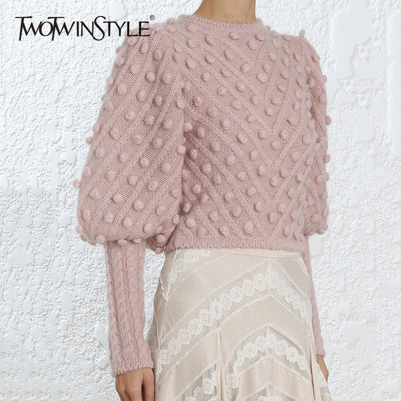 TWOTWINSTYLE Lantern Sleeve Women s Sweater Short Tops High Waist Ball Knitting Pullover For Female Vintage