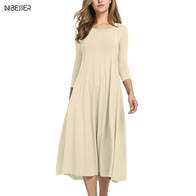 NIBESSER 2019 Summer Women Solid O-Neck Long Sleeve Ladies Loose Casual Party Large Size Dress Round Neck Midi Dress 3/4 Sleeve
