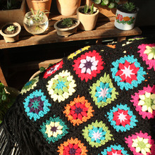 DIY handmade flower cushion scappa scarf cloak carpet Hand hooked fashion crochet blanket cushion felt pastoral