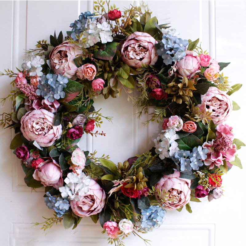 53cm Door Wreath Large Garland Artificial Flower Wreath Wall Hanging Door Decoration Home Decoration Farmhouse Deocr Hawaiian