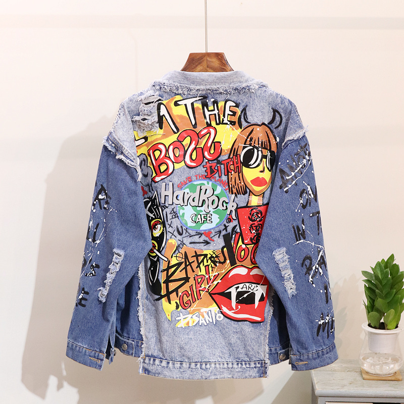 Spring Fashion Denim Coat Women Harajuku Graffiti Print Worn Out Long Sleeve Denim Jacket Women Jeans