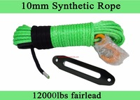 Green 10mm 30m Synthetic Rope And 10 Hawse Fairlead Replacement Synthetic Rope For Winch ATV Winch