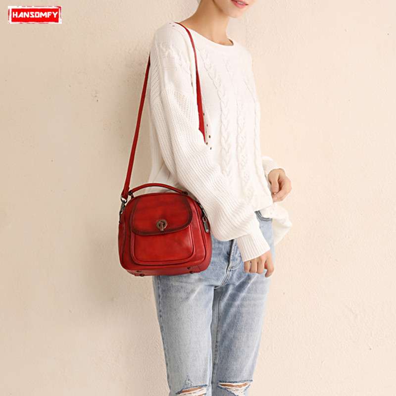 Luxury fashion Women handbags lock female shoulder messenger bags soft genuine leather leisure port wind girl small back packsLuxury fashion Women handbags lock female shoulder messenger bags soft genuine leather leisure port wind girl small back packs