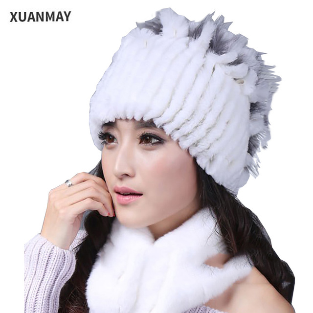 Ms. Rex rabbit wool winter fur hat Winter 2017 Casual Rex rabbit Thick warm wool ear female Fur hat fur hat Winter woman