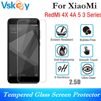 VSKEY 10pcs 2.5D Tempered Glass For Xiaomi Redmi 4X 4A 3x 3s Screen Protector Anti-Shatter Protective Film