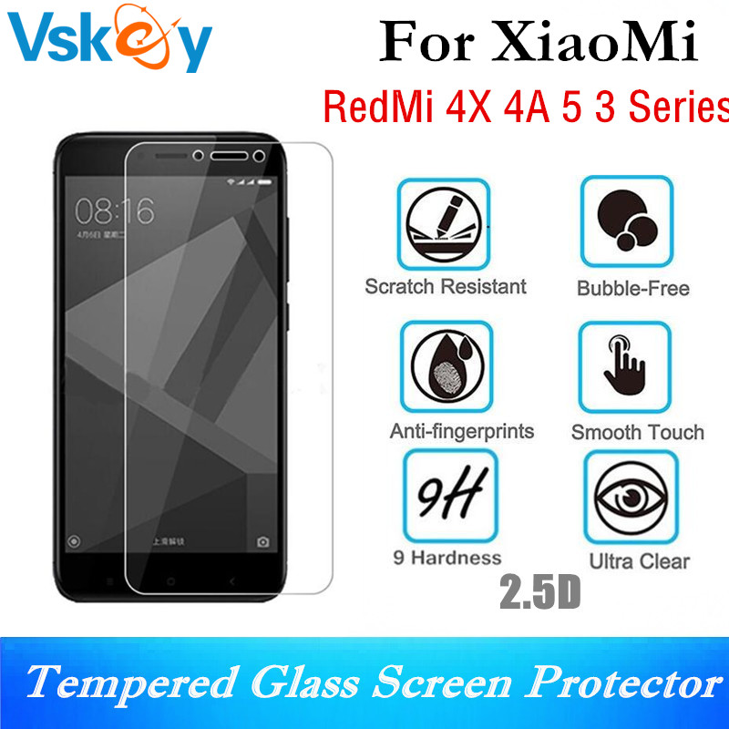 VSKEY 20pcs 2.5D Tempered Glass For Xiaomi RedMi 4X 4A 4 Prime 5 3X 3S Pro Screen Protector Anti-Shatter Protective Film