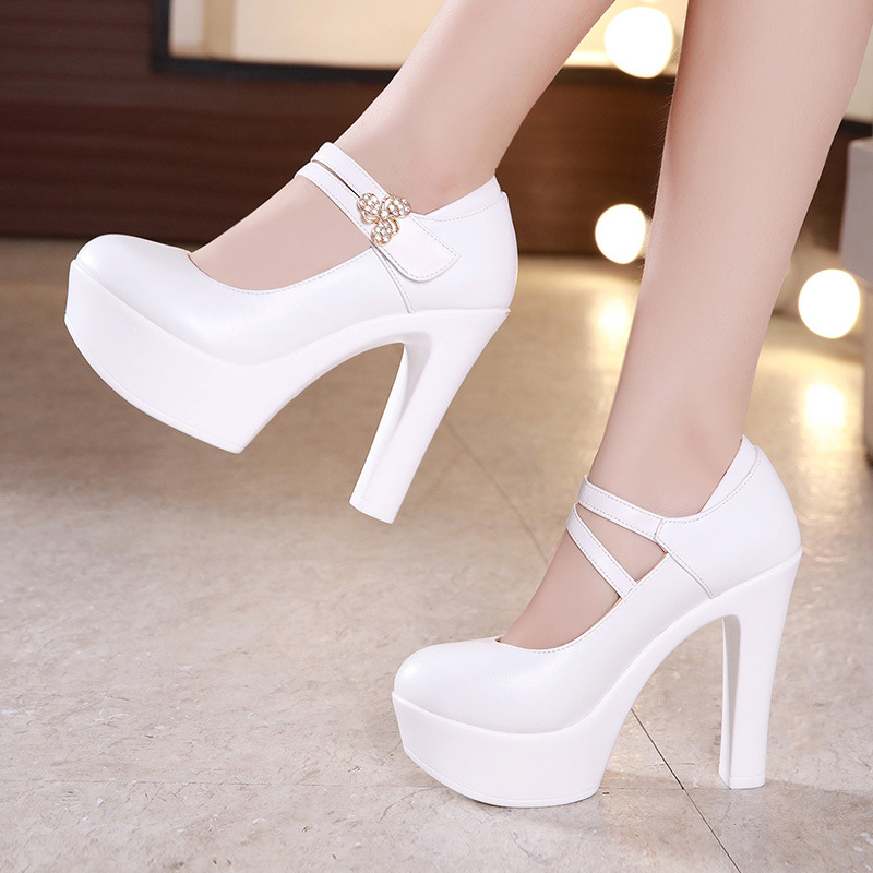 13cm Buckle Block Heels Leather Pumps Women Platform Shoes 2019 High Heels Shoes Elegant Wedding Shoes White Office Shoe 42 43