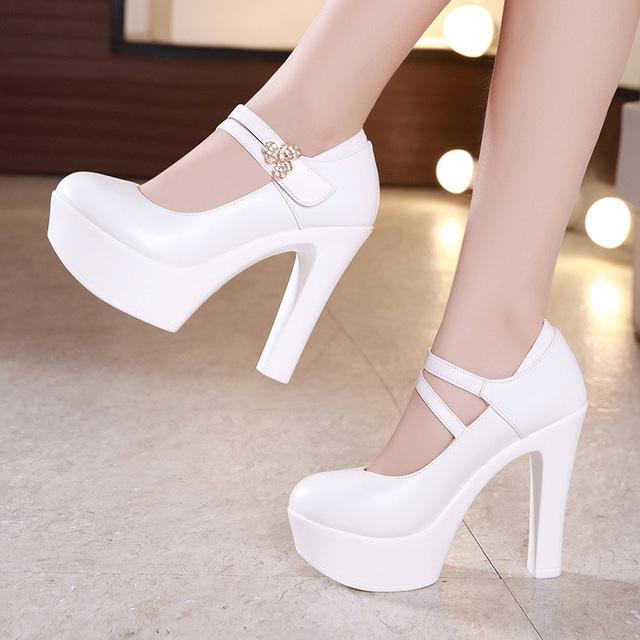 13cm Buckle Block Heels Leather Pumps Women Platform Shoes 2019 High Heels Shoes Elegant Wedding Shoes White Office Shoe 42 43