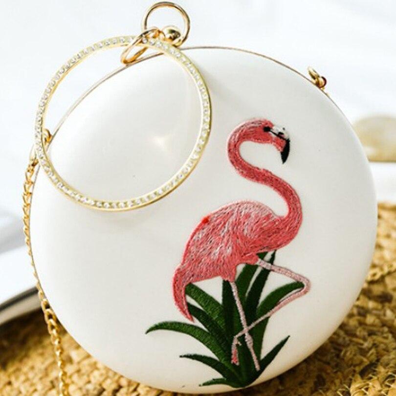 Flamingo dames sacs à main blanc sac rond femmes 2019 pochette chaîne sac diamant poignée cercle petits mini sacs à main sacs de soirée