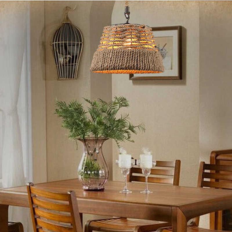 לופט בציר רטרו תליון מנורות סלי קנבוס אורות סלון בר קפה מסעדת פאב מועדון אוכל חדר מעבר מדרגות נברשת