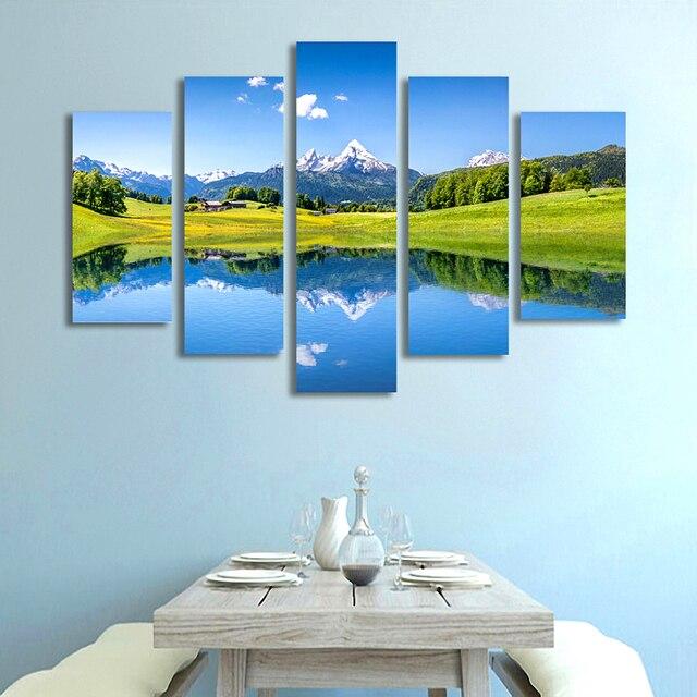 5 panneaux nature montagne de neige paysage toile peinture bleu lac mur image d coratifs pour la. Black Bedroom Furniture Sets. Home Design Ideas