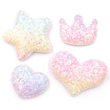 Bling Iridescence Paillette Padded Patches Crown/Heart/Star Glitter Appliques for DIY Craft/Hair Clip Decoration Accessories F26