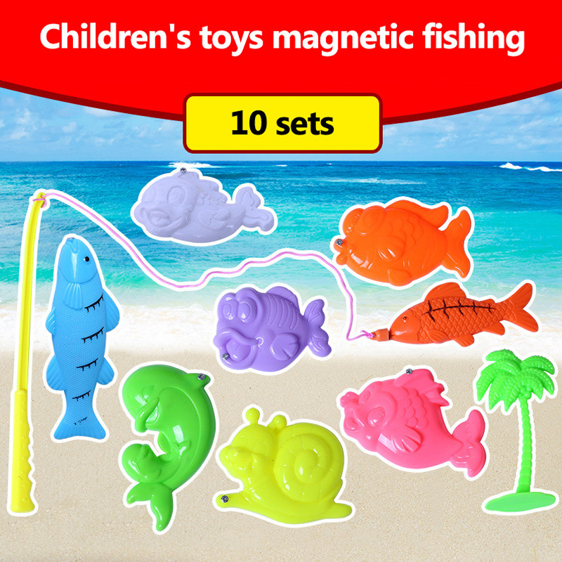 10pcs Plastic Magnetic Fishing Toys Set Rod For Kids Children Fish Model Play Fishing Games Outdoor Boy Toys A birthday present new 14 fishes 2 fishing rods wooden children toys fish magnetic pesca play fishing game tin box kids educational toy boy girl