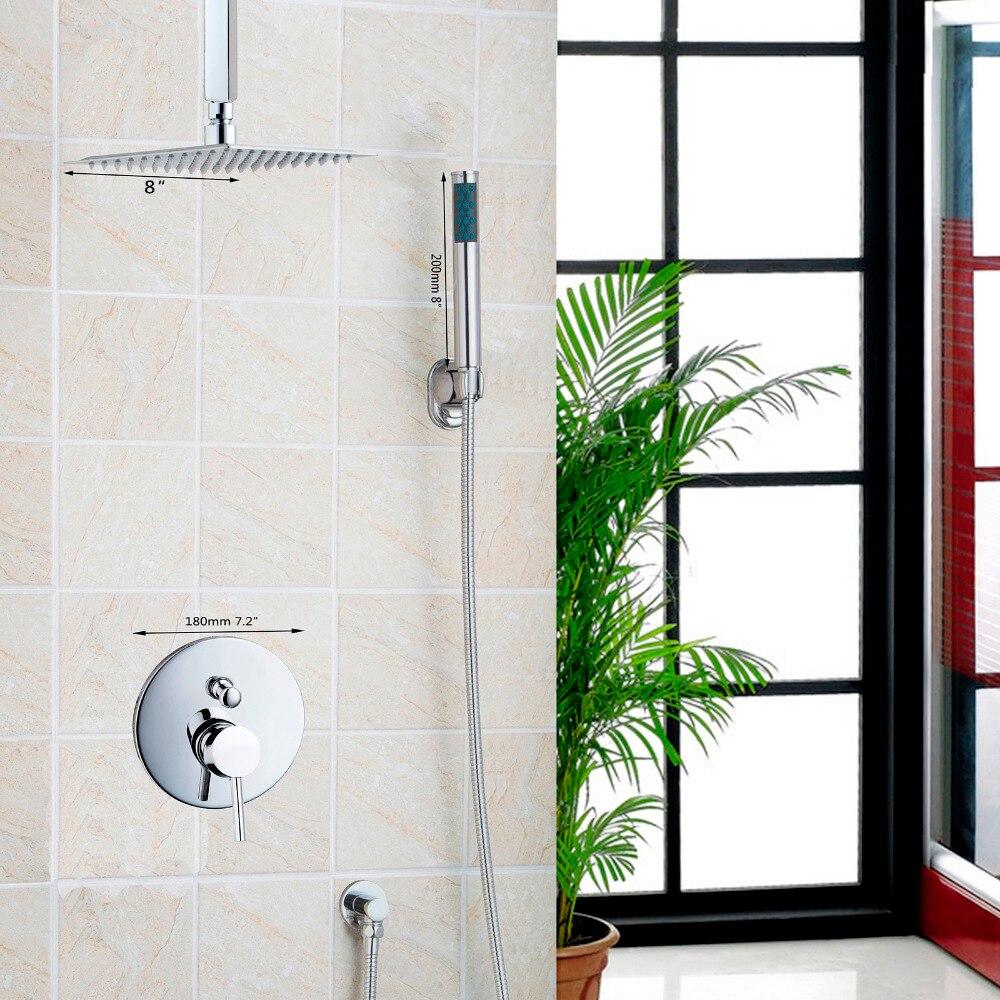Wall Mounted Rain Shower Set Luxury Square Shower Head 8 Shower Set with Hand Shower Set Faucets wall mounted rain shower set luxury square shower head 8 shower set with hand shower and control valve