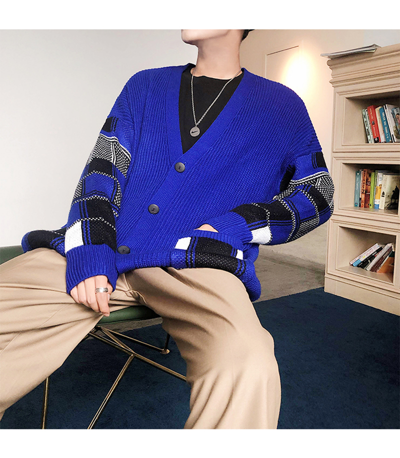 Korean Oversized Sweater Cardigan Men Plaid (26)