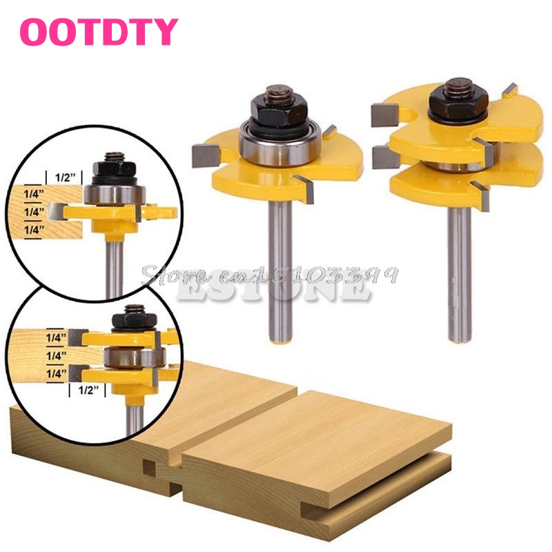 2Pcs Tongue & Groove Router Bit 3/4 Stock 1/4 Shank For Woodworking Tool #G205M# Best Quality 2pcs tongue