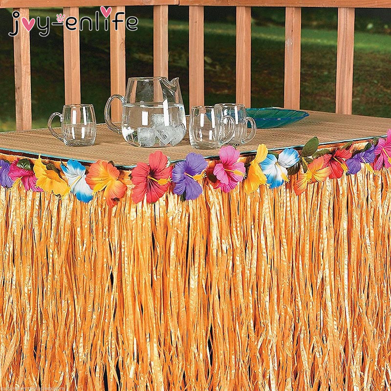 JOY-ENLIFE Colorful Flowers Artificial Grass Table Skirt Hawaiian Tropical Party Decor Wedding Party Summer Pool Party Supplies