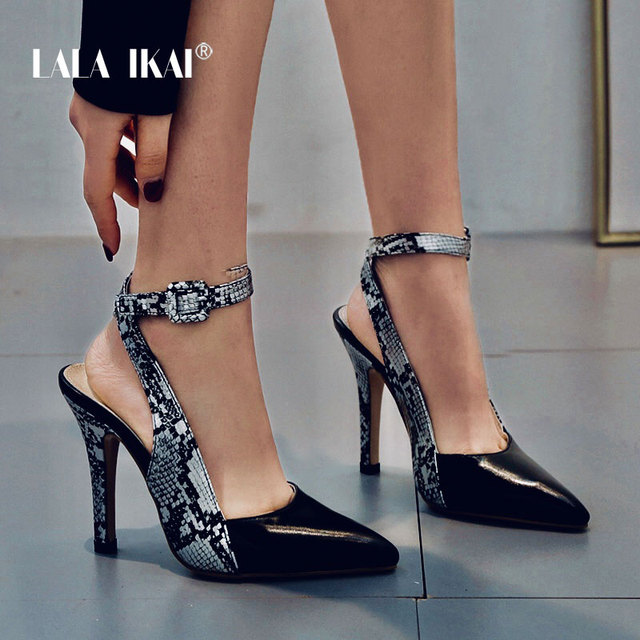 LALA IKAI Women Sandals Thin Heel Buckle Strap Summer Sexy Leopard Pointed Toe Party Shoes 12cm High Heels Sandalia 014C3419-4