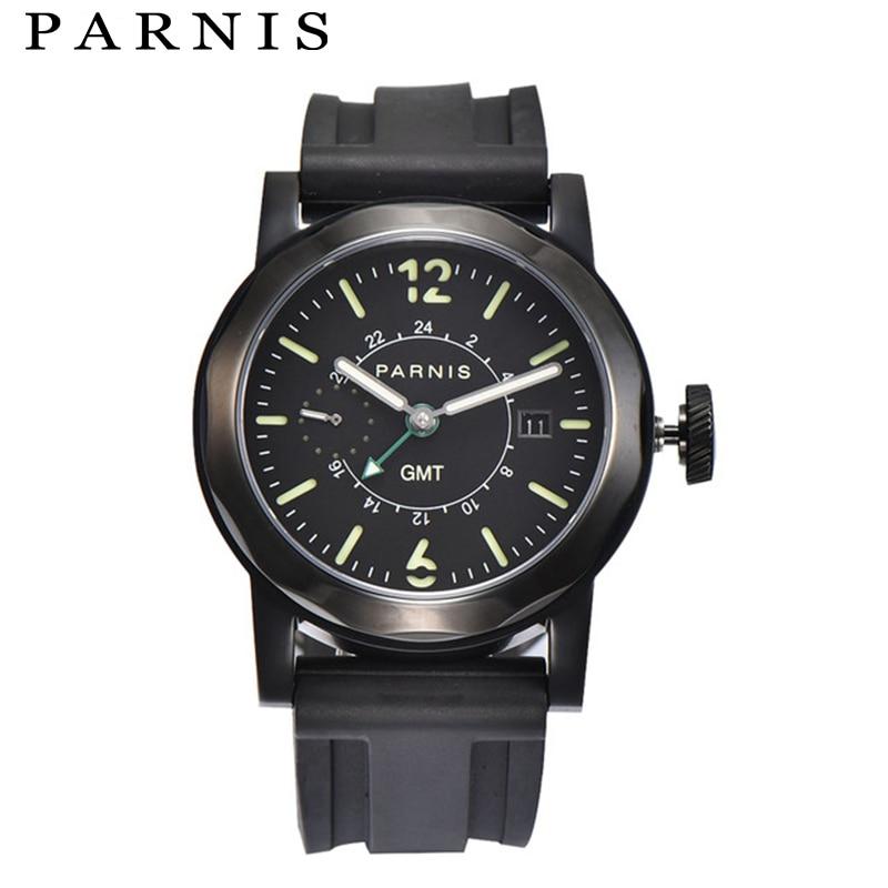 43mm Men Mechanical Watch Parnis Mens Automatic Watches GMT Sea-gull 2557 Black Rubber Strap 100M Waterproof Luminous Watch
