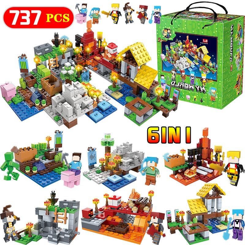 737pcs 6 In 1 My World Village Building Blocks Compatible LegoINGLY Minecraft Defend Homes Zombie Figures DIY Enlighten Kid Toy minecraft 4 in 1 building blocks minecraft figures dragons toys steve zombie alex witch zombie skeleton compatible blocks e