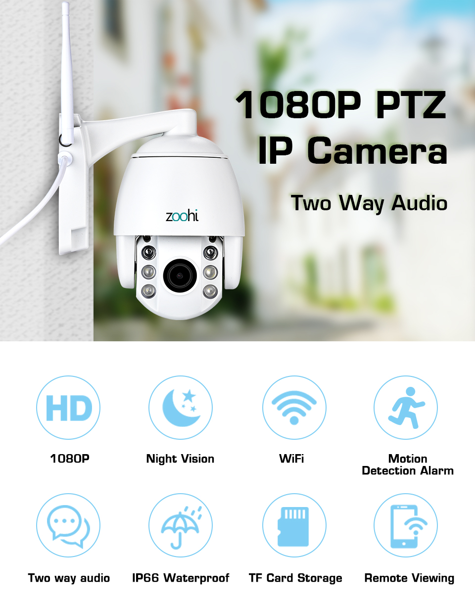 Zoohi PTZ Wireless Outdoor Camera IP Camera Two Way Audio 1080p Rotatable  Dome Survellance Security Cameras CCTV WIFI 2MP IR-in Surveillance Cameras