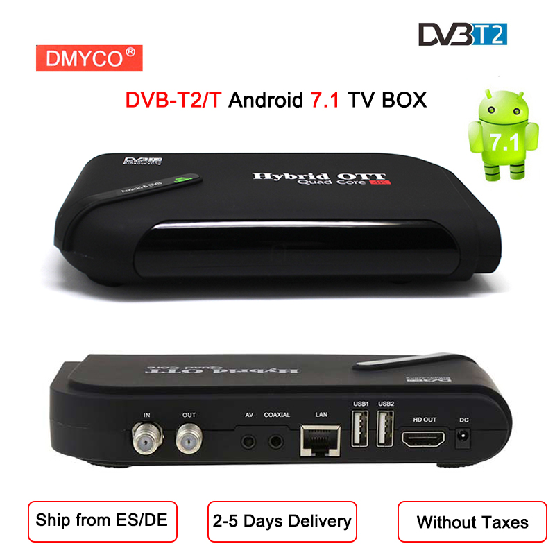 2018 DVB-T2/T Satellite TV récepteur 1080 P HD Smart TV BOX Android 7.1 Amlogic S905D Quad Core Bluetooth 4.0 wifi 4 K lecteur multimédia