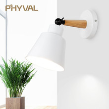 קיר מנורת נורדי עץ קיר LED מנורות קיר אלומיניום אור עבור בר קפה בית תאורת הלילה בחדר שינה בית תפאורה גופי