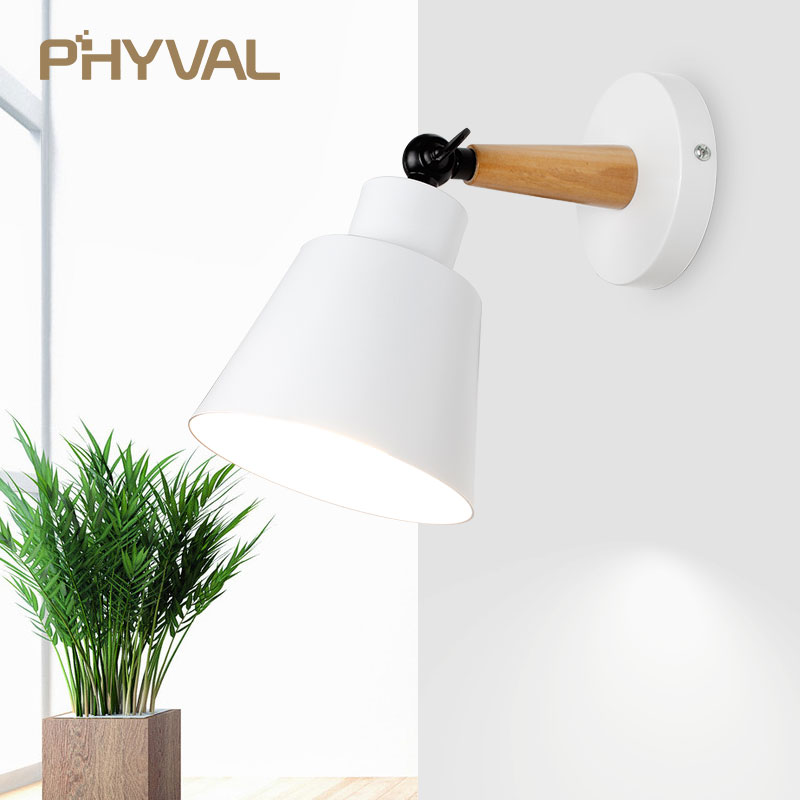 Led Wall Light Modern Nordic Simple Wall Lamps Beside Lights For Bedroom Living Room Wood Aluminum Wall Lamp Home Decoration E27 Lights & Lighting