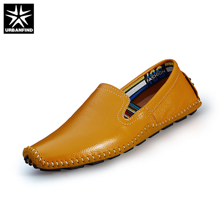 URBANFIND Casual Men Leather Loafers Fashion Driving Shoes EU 38-47 Top Leather Moccasins Man Summer Slip-on Flats Massage Sole branded men s penny loafes casual men s full grain leather emboss crocodile boat shoes slip on breathable moccasin driving shoes