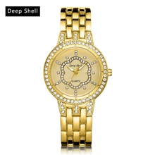 Deepshell Casual Fashion Gold Women Quartz Watch Flower Rhinestones Luxury Brand Ladies Wristwatch Girl Clock Metal Straps