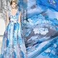 2017 chinês azul e branco da porcelana impressão chiffon de seda tecido tecidos de seda oferta especial uma folga vestido de diy 135 cm * 100 cm