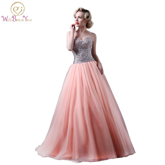 vestido Pink Quinceanera Dresses Ball Gowns Crystal Bodice vestido ...