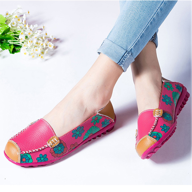 2018 autumn women flats genuine leather shoes slip on ballet flats women flats print woman shoes moccasins loafers shoes
