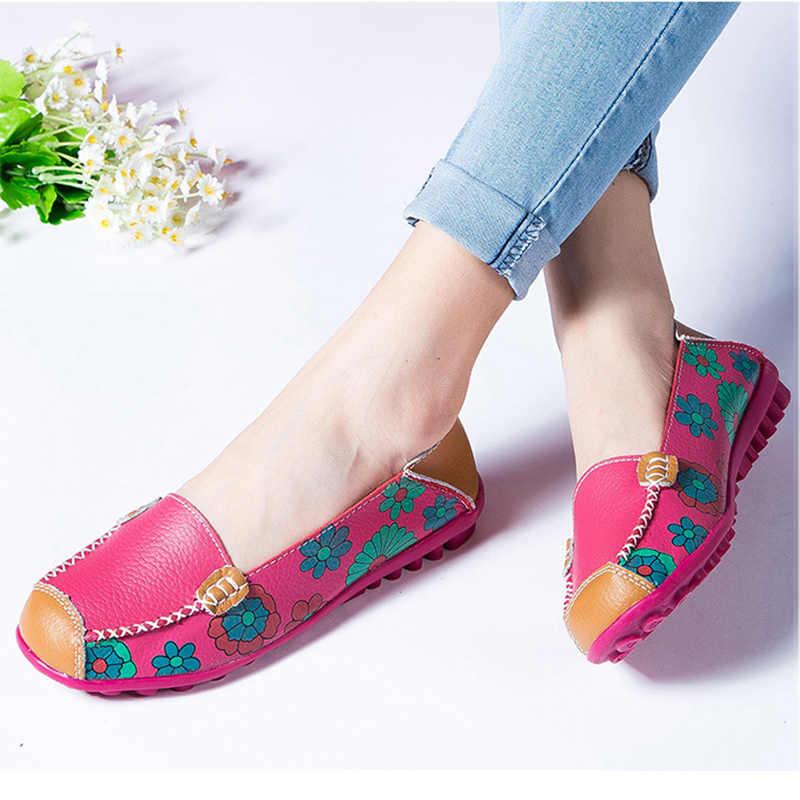 2018 sonbahar kadın flats hakiki deri ayakkabı bale daireler üzerinde kayma kadınlar flats baskı kadın ayakkabı moccasins loafer ayakkabılar