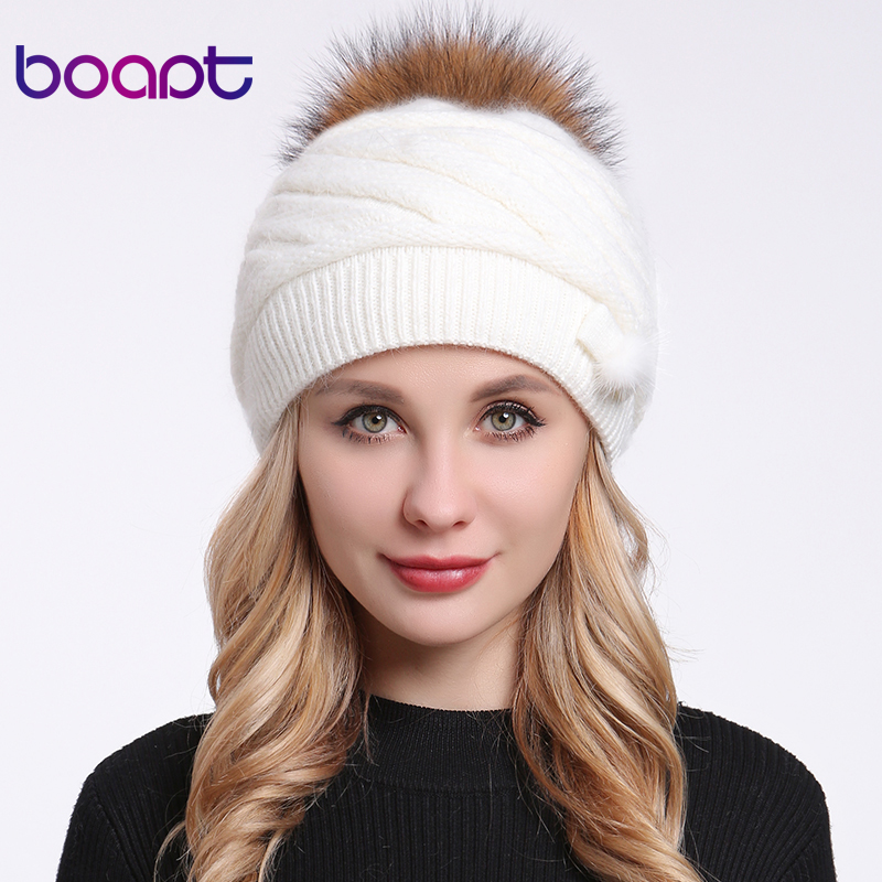 [boapt] Fluffy Pompon Natural Real Raccoon Fur Female Hat   Skullies     Beanies   Thick Rabbit Knitted Casual Women Caps Winter Hats