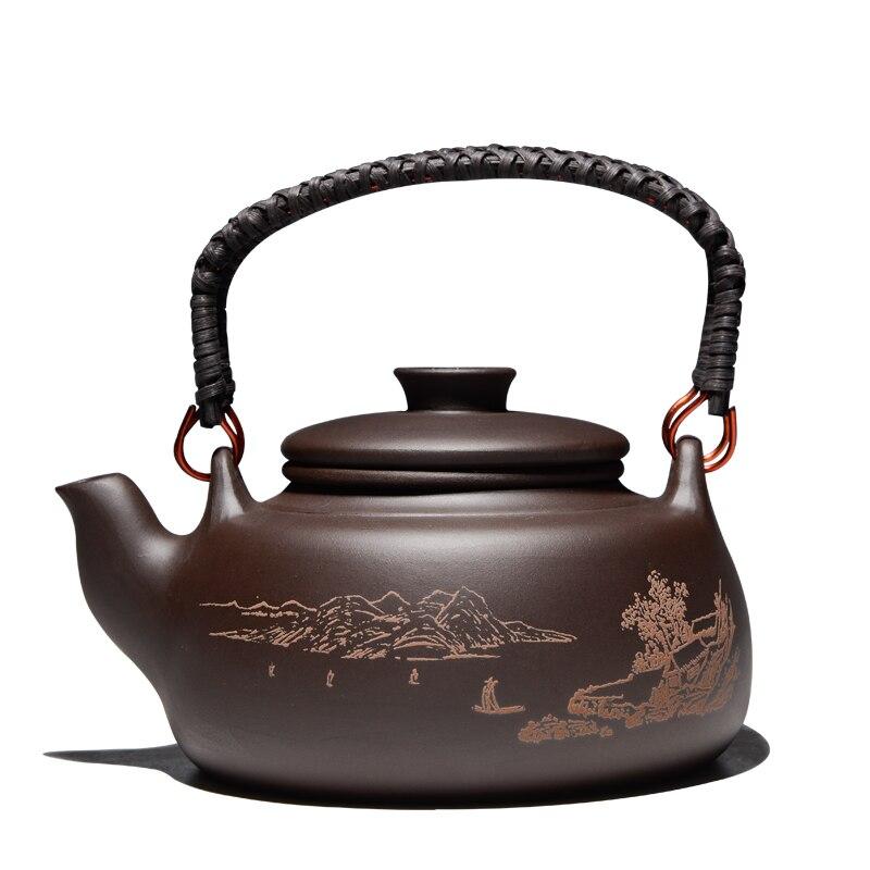 New Chinese Tea Pot Kung Fu Zisha Large Capacity Tea Pot With Filter Creative Handle Purple
