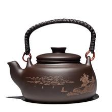 Neue Chinesische Teekanne Kung Fu Zisha Große Kapazität Teekanne Mit Filter Kreative Griff Lila Ton Teekanne Wasserkocher Set