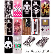 High Quality Fashion Luxury Soft Silicone TPU phone case For Samsung J7 2017 J730F with monkey owl Elephant lion panda Painted(China)