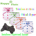 Happy Flute Onesize bamboo cotton$bamboo charcoal  fitted diaper, AIO bamboo cotton diaper, fit babies from 3-15kgs