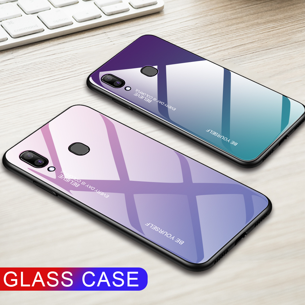 For <font><b>Samsung</b></font> <font><b>Galaxy</b></font> A20E A20S <font><b>A20</b></font> Gradient Tempered Glass Case For <font><b>Samsung</b></font> Samsun <font><b>A20</b></font> E S A 20e A20e Aurora Colorful Back Cover image