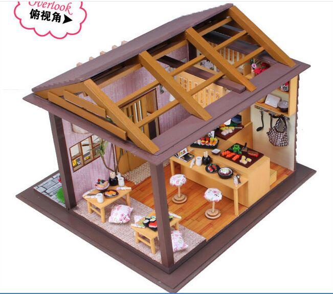 New arrive Large new year GIFT  Japan style DIY  Sakura Sushi store Wooden House With Furniture   3D Puzzle  Toy Gifts sakura sushi bar japanese zakka style diy doll house 3d miniature led light wood