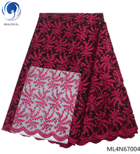 BEAUTIFICAL rose red african lace fabric tulle online shopping 5 yards per lot for man ML4N670