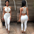 Jumpsuit Overalls Women Sexy Dew Waist Sleeveless Bodycon Bandage Party Long Bodysuit Overall Rompers combinaison femme
