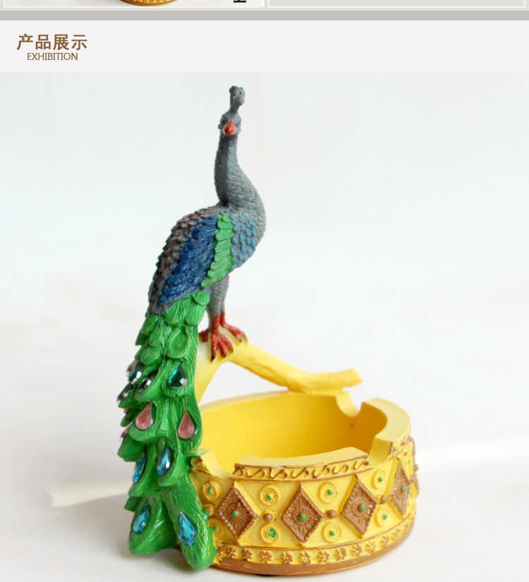Креативный пепельница Павлин Юго-Восточной Азии стильный журнальный столик украшения мини смолы ремесло животное Дисплей